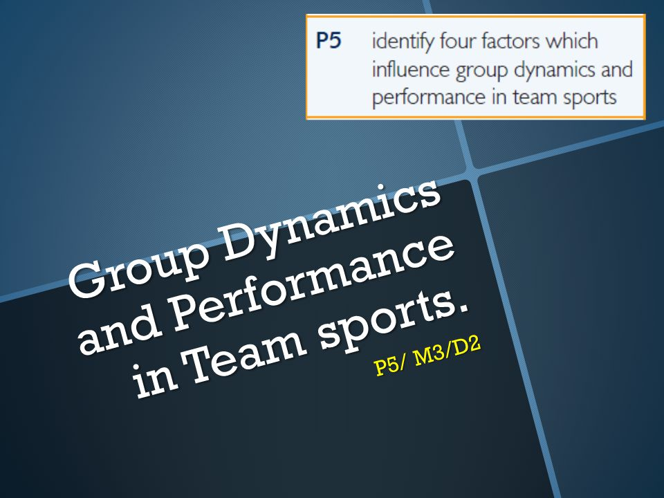 Group Dynamics and Performance in Team sports. P5/ M3/D2