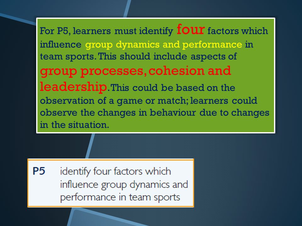 For P5, learners must identify four factors which influence group dynamics and performance in team sports. This should include aspects of group proces