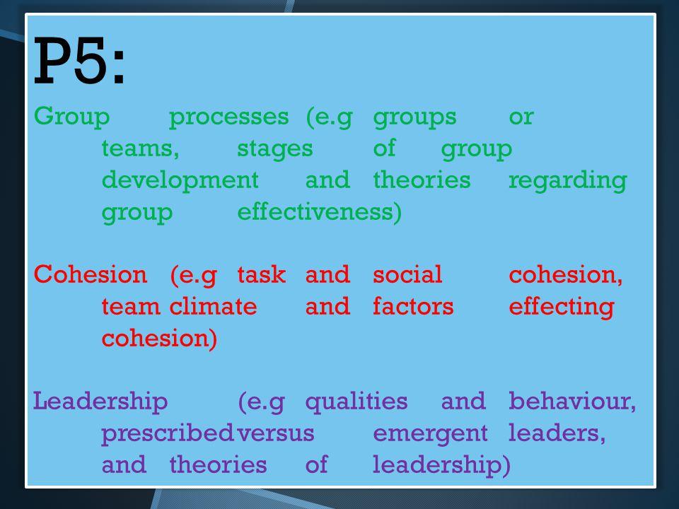P5: Groupprocesses(e.ggroupsor teams,stagesofgroup developmentandtheoriesregarding groupeffectiveness) Cohesion(e.gtaskandsocialcohesion, teamclimatea