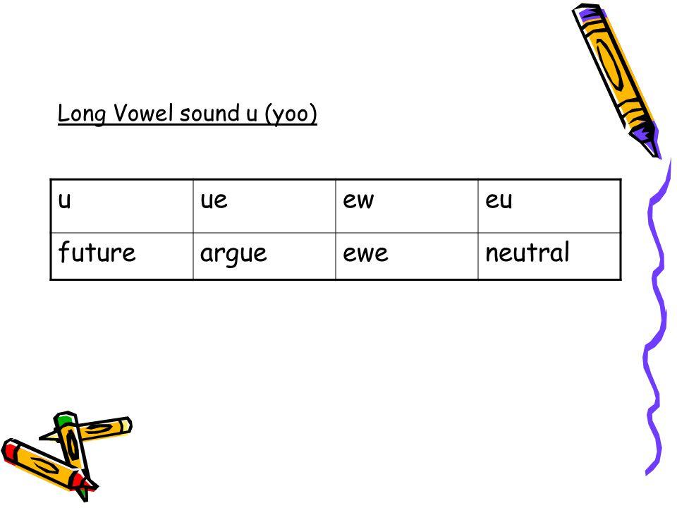 Long Vowel sound u (yoo) uueeweu futureargueeweneutral