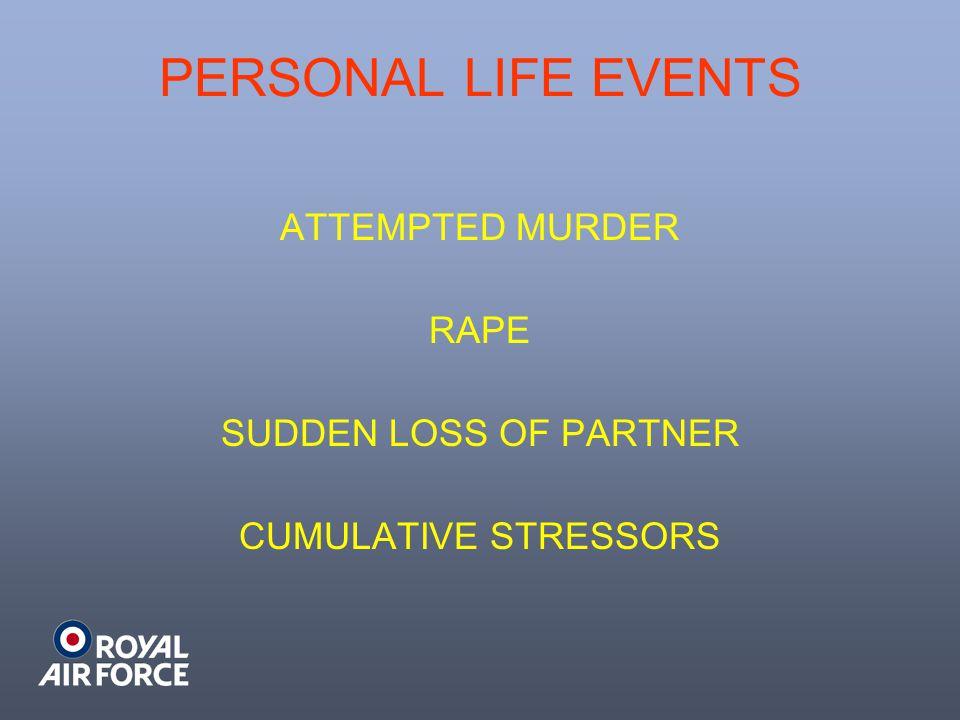 PERSONAL LIFE EVENTS ATTEMPTED MURDER RAPE SUDDEN LOSS OF PARTNER CUMULATIVE STRESSORS