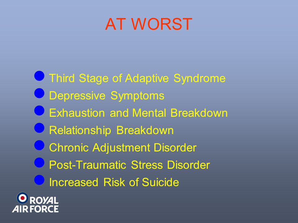 AT WORST Third Stage of Adaptive Syndrome Depressive Symptoms Exhaustion and Mental Breakdown Relationship Breakdown Chronic Adjustment Disorder Post-Traumatic Stress Disorder Increased Risk of Suicide