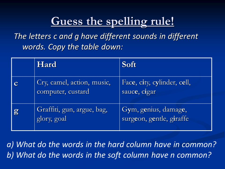 Soft and Hard c or g Rules Copy this into your jotter: The letters c or g usually have a soft sound when followed by e, i or y.