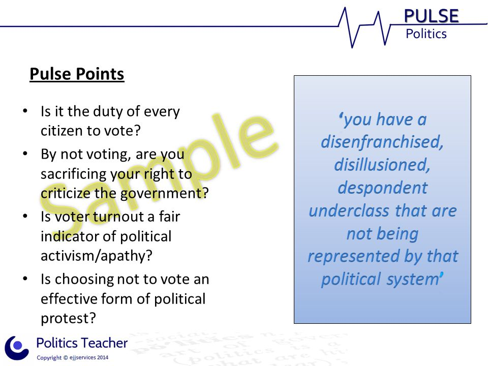 Pulse Points Is it the duty of every citizen to vote? By not voting, are you sacrificing your right to criticize the government? Is voter turnout a fa