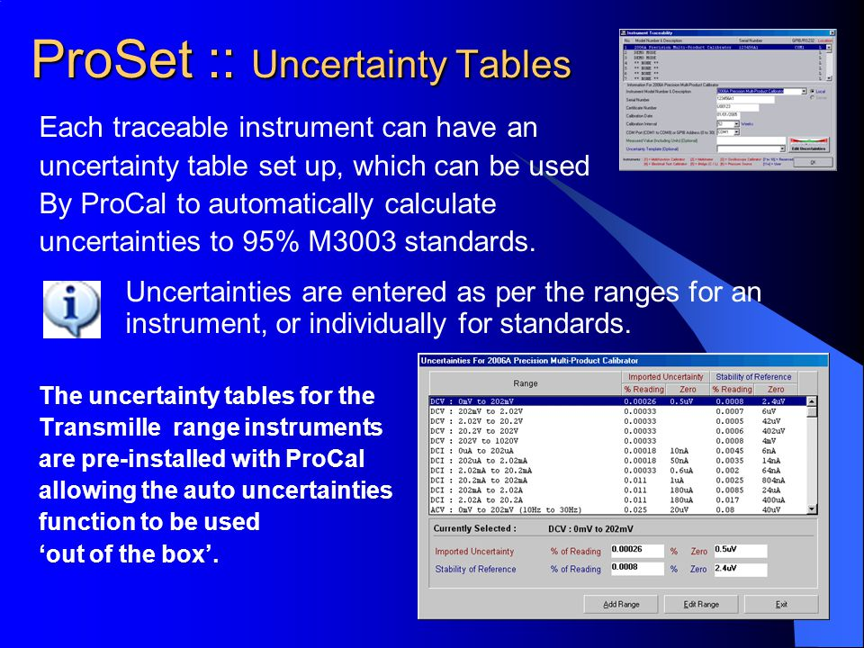 Each traceable instrument can have an uncertainty table set up, which can be used By ProCal to automatically calculate uncertainties to 95% M3003 stan