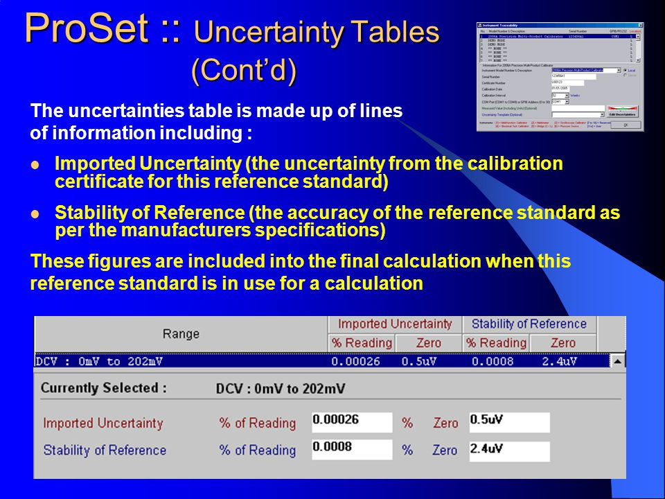 The uncertainties table is made up of lines of information including : Imported Uncertainty (the uncertainty from the calibration certificate for this