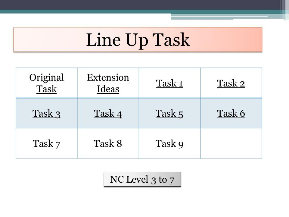 Line Up Task Original Task Extension Ideas Task 1Task 2 Task 3Task 4Task 5Task 6 Task 7Task 8Task 9 NC Level 3 to 7