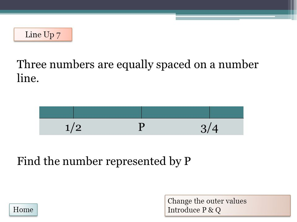 Three numbers are equally spaced on a number line.