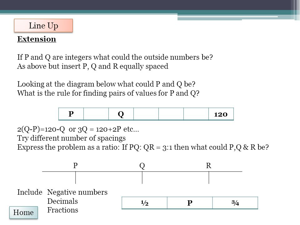 Line Up Home Extension If P and Q are integers what could the outside numbers be? As above but insert P, Q and R equally spaced Looking at the diagram