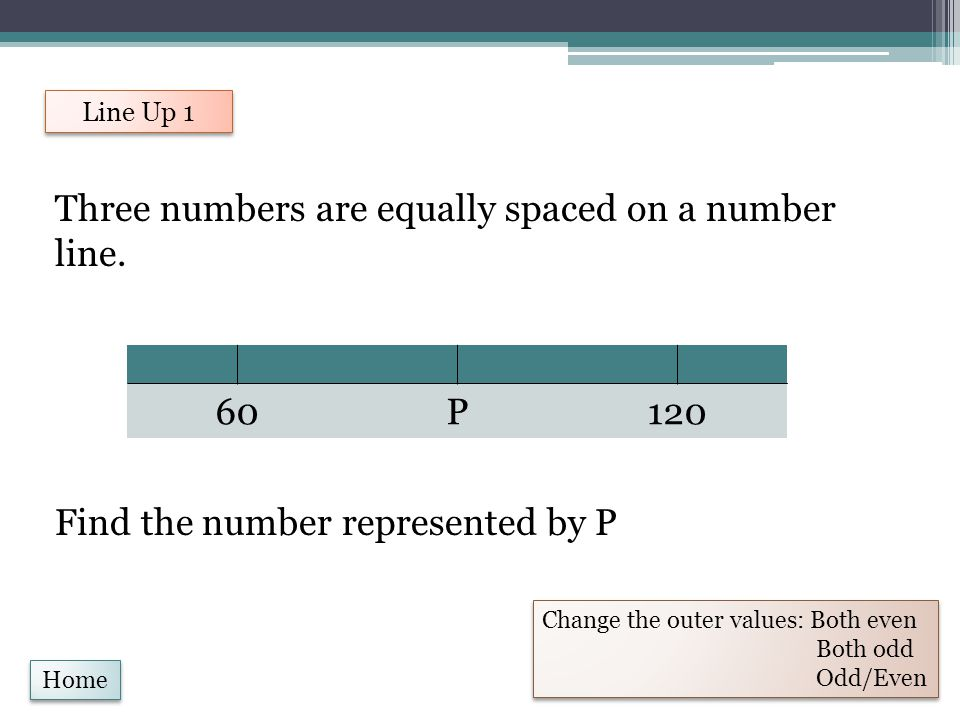Three numbers are equally spaced on a number line. Find the number represented by P Line Up 1 Change the outer values: Both even Both odd Odd/Even Cha
