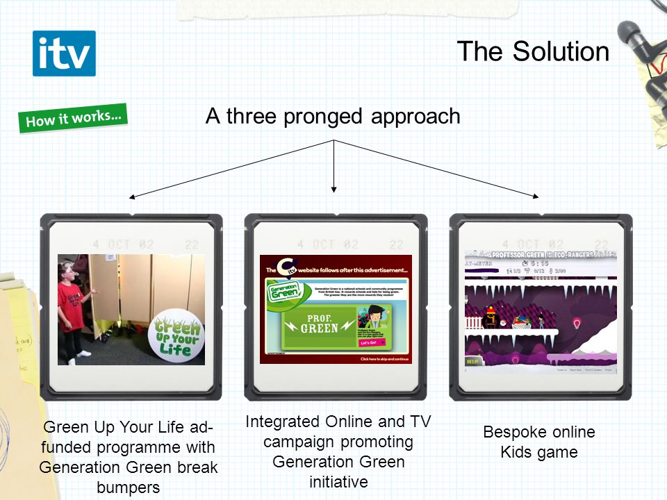 The Solution A three pronged approach Bespoke online Kids game Green Up Your Life ad- funded programme with Generation Green break bumpers Integrated Online and TV campaign promoting Generation Green initiative