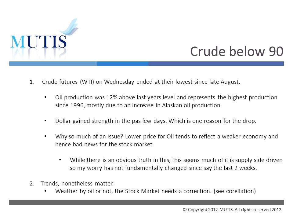  Crude below 90 1. Crude futures (WTI) on Wednesday ended at their lowest since late August.