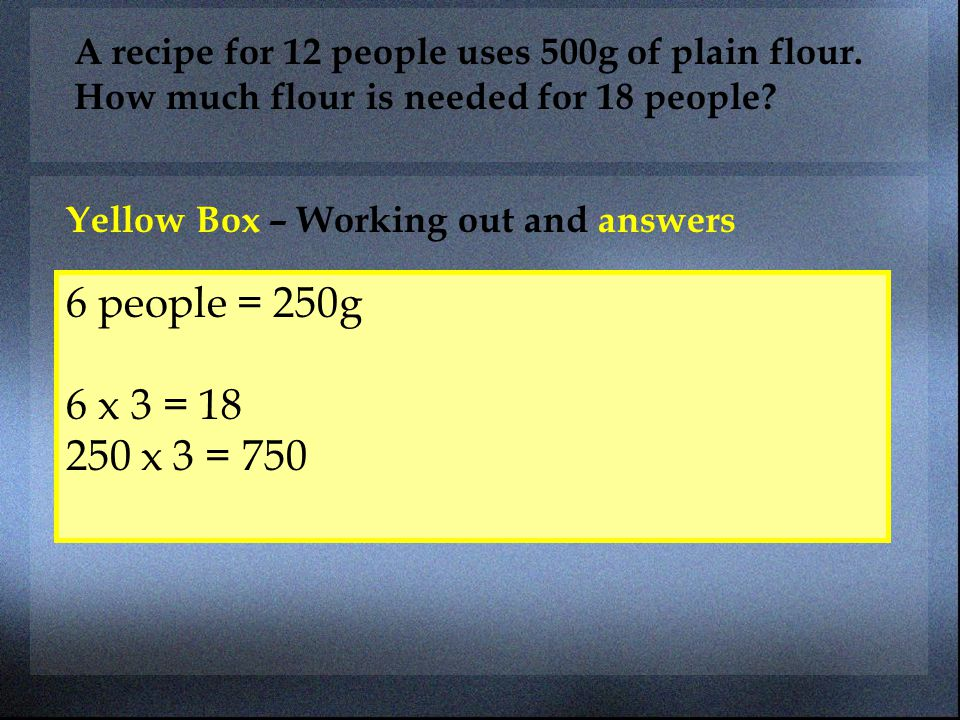 A recipe for 12 people uses 500g of plain flour. How much flour is needed for 18 people? Yellow Box – Working out and answers 6 people = 250g 6 x 3 =