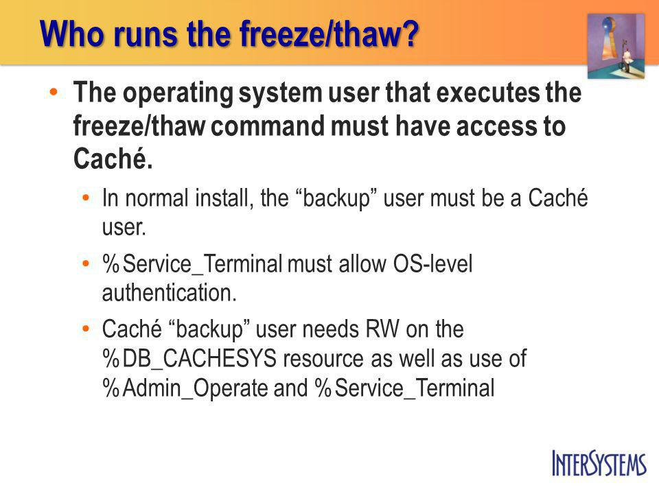 The operating system user that executes the freeze/thaw command must have access to Caché.
