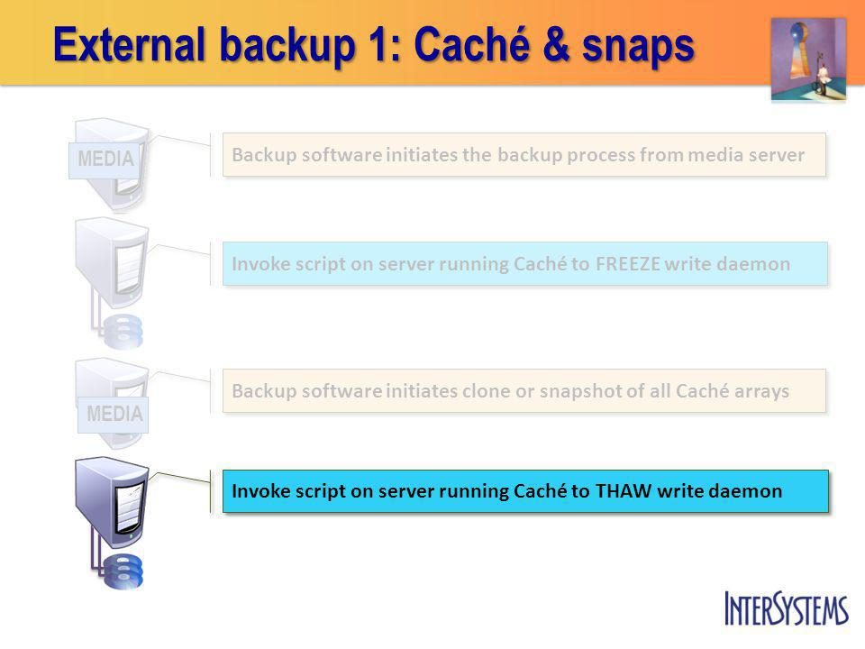 External backup 1: Caché & snaps Invoke script on server running Caché to FREEZE write daemon Invoke script on server running Caché to THAW write daemon Backup software initiates the backup process from media server MEDIA Backup software initiates clone or snapshot of all Caché arrays MEDIA