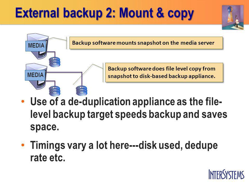 External backup 2: Mount & copy Backup software mounts snapshot on the media server MEDIA Backup software does file level copy from snapshot to disk-b