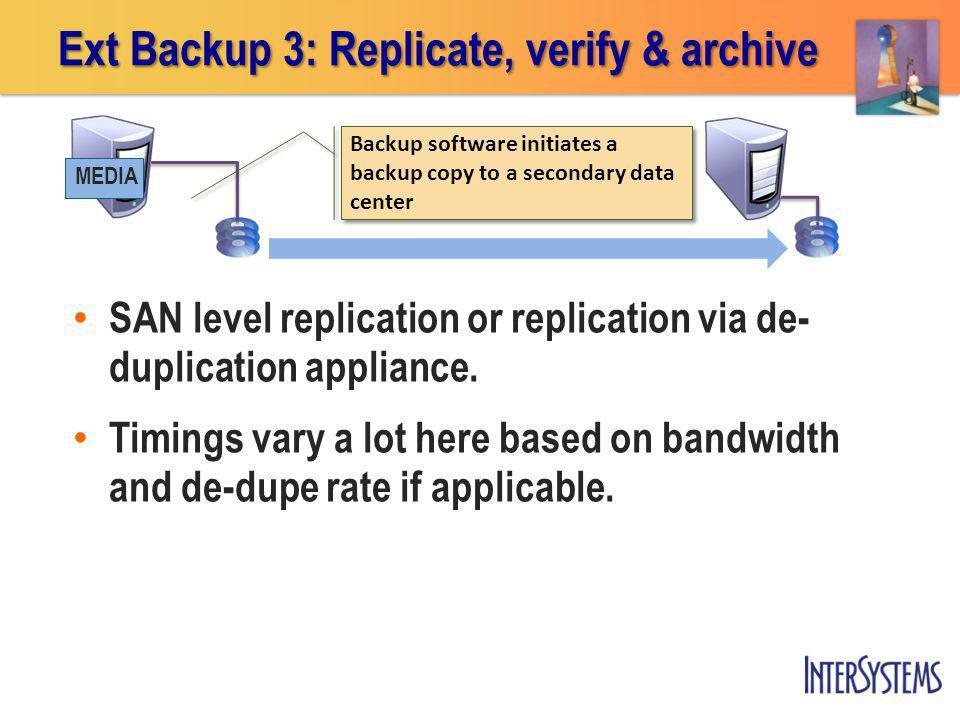 Ext Backup 3: Replicate, verify & archive Backup software initiates a backup copy to a secondary data center MEDIA SAN level replication or replicatio