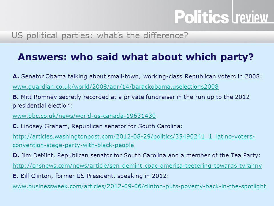 US political parties: what's the difference. Answers: who said what about which party.
