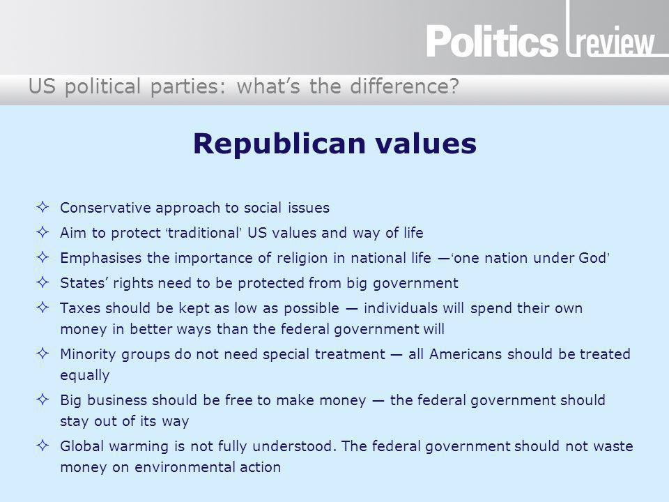 US political parties: what's the difference.Answers: policy differences DemocratsRepublicans 1.
