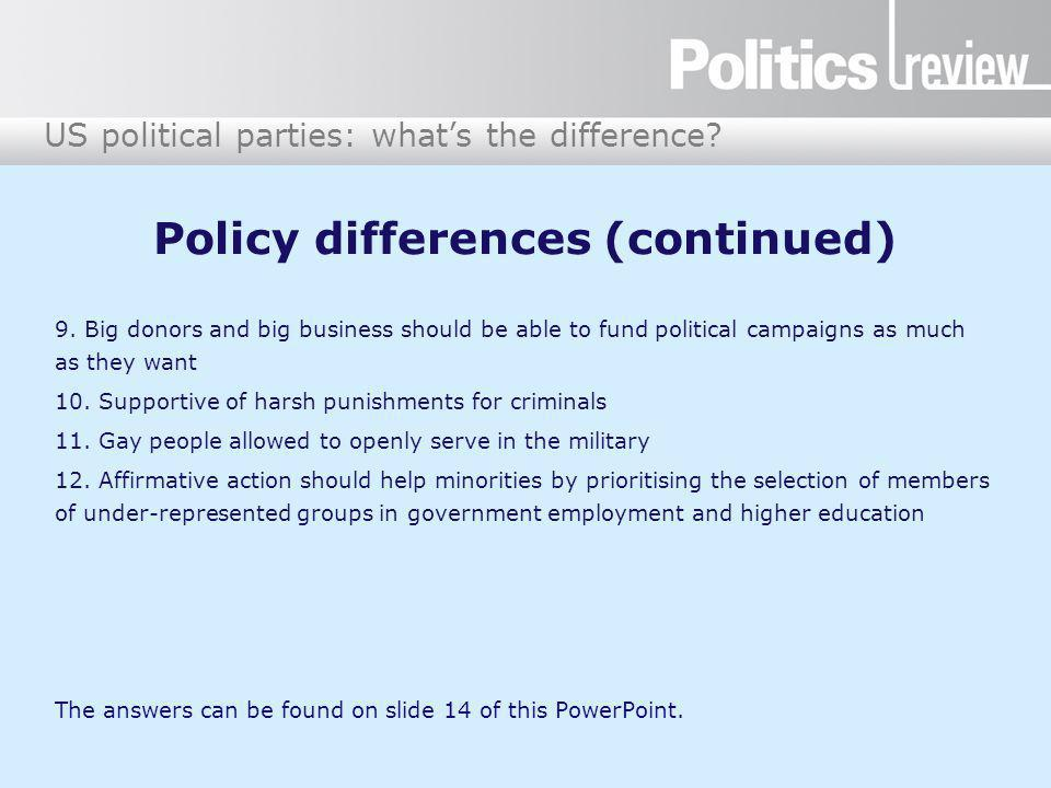 US political parties: what's the difference.Answers: who said what about which party.