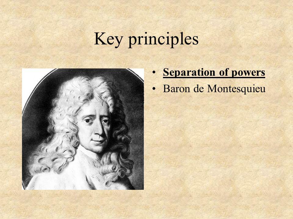 Key principles Checks and balances Example: The confirmation process: President nominates, Senate confirms