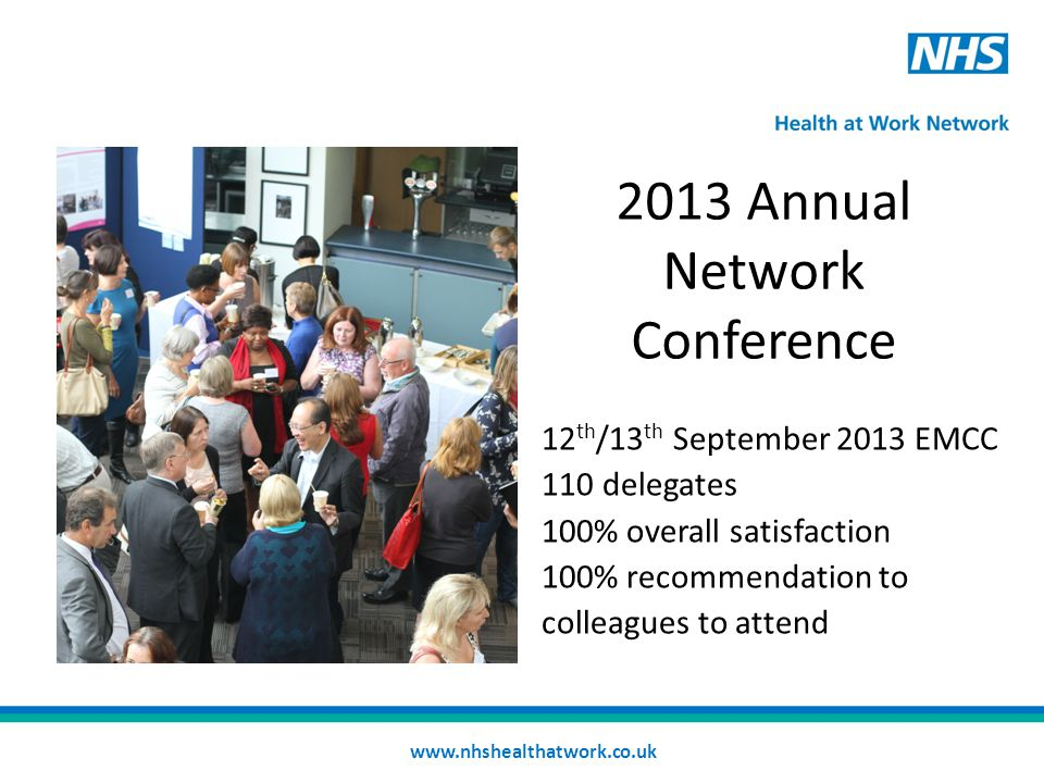 2013 Annual Network Conference 12 th /13 th September 2013 EMCC 110 delegates 100% overall satisfaction 100% recommendation to colleagues to attend www.nhshealthatwork.co.uk