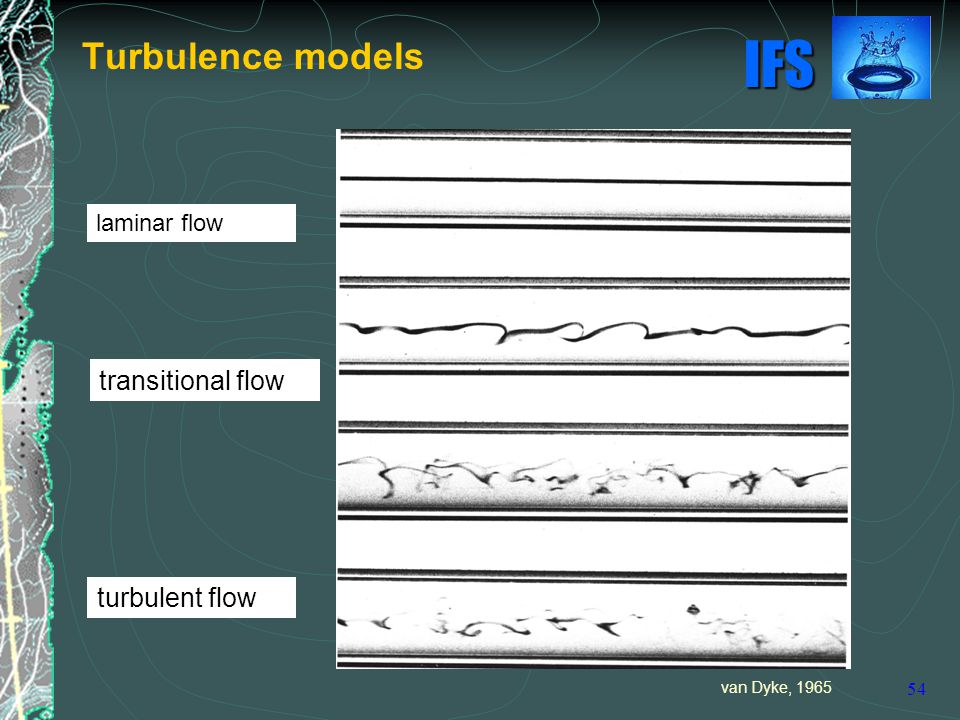 IFS 54 Turbulence models laminar flow transitional flow turbulent flow van Dyke, 1965