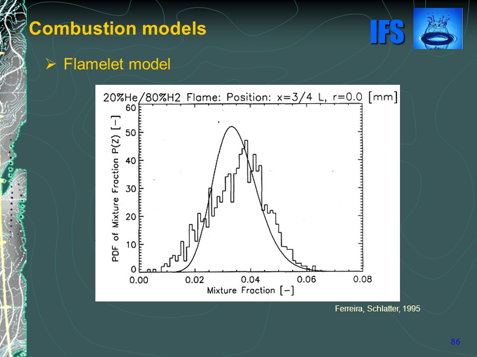 IFS 86 Combustion models Ferreira, Schlatter, 1995  Flamelet model
