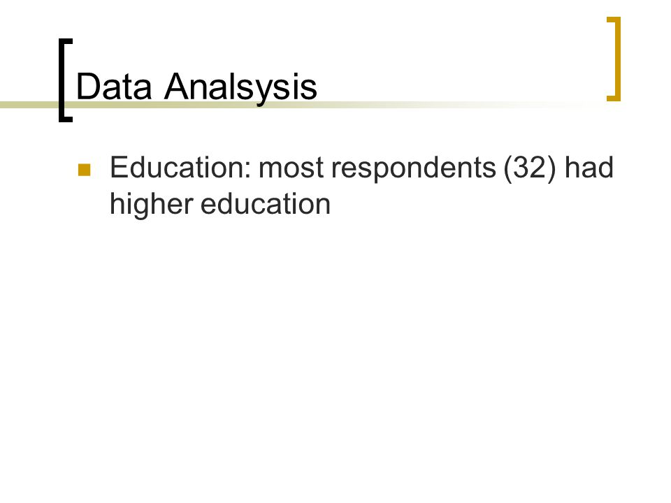 Data Analsysis Education: most respondents (32) had higher education