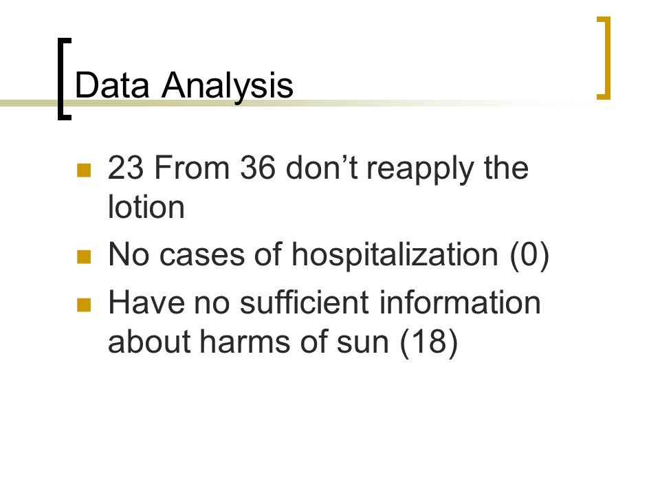 Data Analysis 23 From 36 don't reapply the lotion No cases of hospitalization (0) Have no sufficient information about harms of sun (18)
