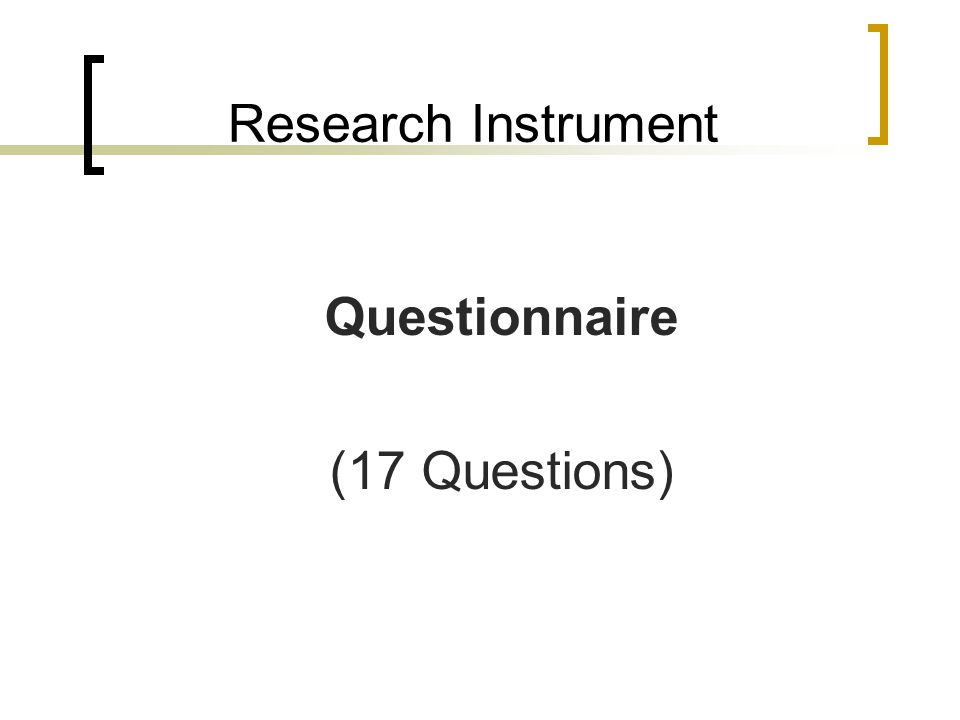 Research Instrument Questionnaire (17 Questions)