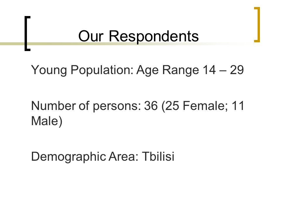 Our Respondents Young Population: Age Range 14 – 29 Number of persons: 36 (25 Female; 11 Male) Demographic Area: Tbilisi
