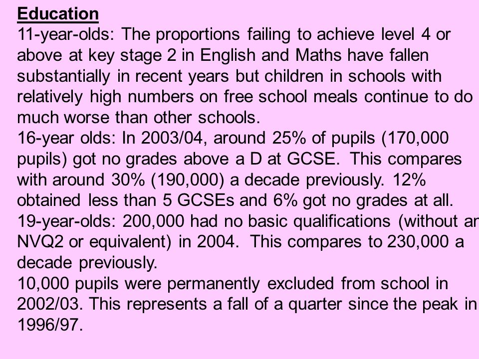Education 11-year-olds: The proportions failing to achieve level 4 or above at key stage 2 in English and Maths have fallen substantially in recent ye