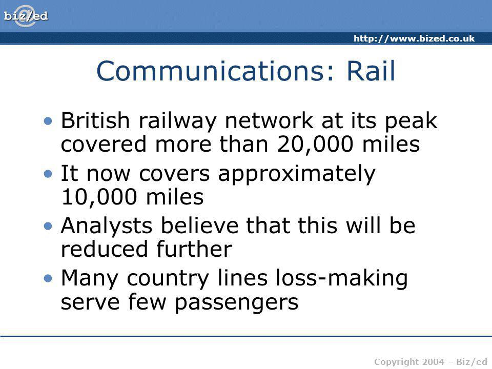 http://www.bized.co.uk Copyright 2004 – Biz/ed Communications: Rail British railway network at its peak covered more than 20,000 miles It now covers a