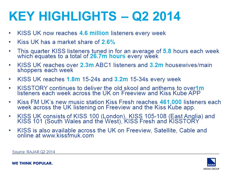 KEY HIGHLIGHTS – Q2 2014 KISS UK now reaches 4.6 million listeners every week Kiss UK has a market share of 2.6% This quarter KISS listeners tuned in for an average of 5.8 hours each week which equates to a total of 26.7m hours every week KISS UK reaches over 2.3m ABC1 listeners and 3.2m housewives/main shoppers each week KISS UK reaches 1.8m 15-24s and 3.2m 15-34s every week KISSTORY continues to deliver the old skool and anthems to over1m listeners each week across the UK on Freeview and Kiss Kube APP Kiss FM UK's new music station Kiss Fresh reaches 461,000 listeners each week across the UK listening on Freeview and the Kiss Kube app.