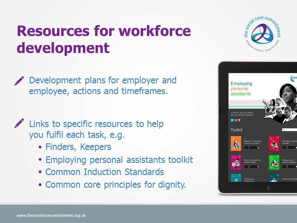 Resources for workforce development Development plans for employer and employee, actions and timeframes.