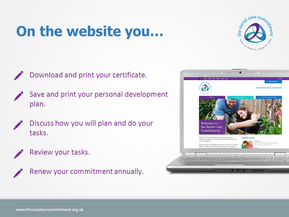 On the website you…   Download and print your certificate.