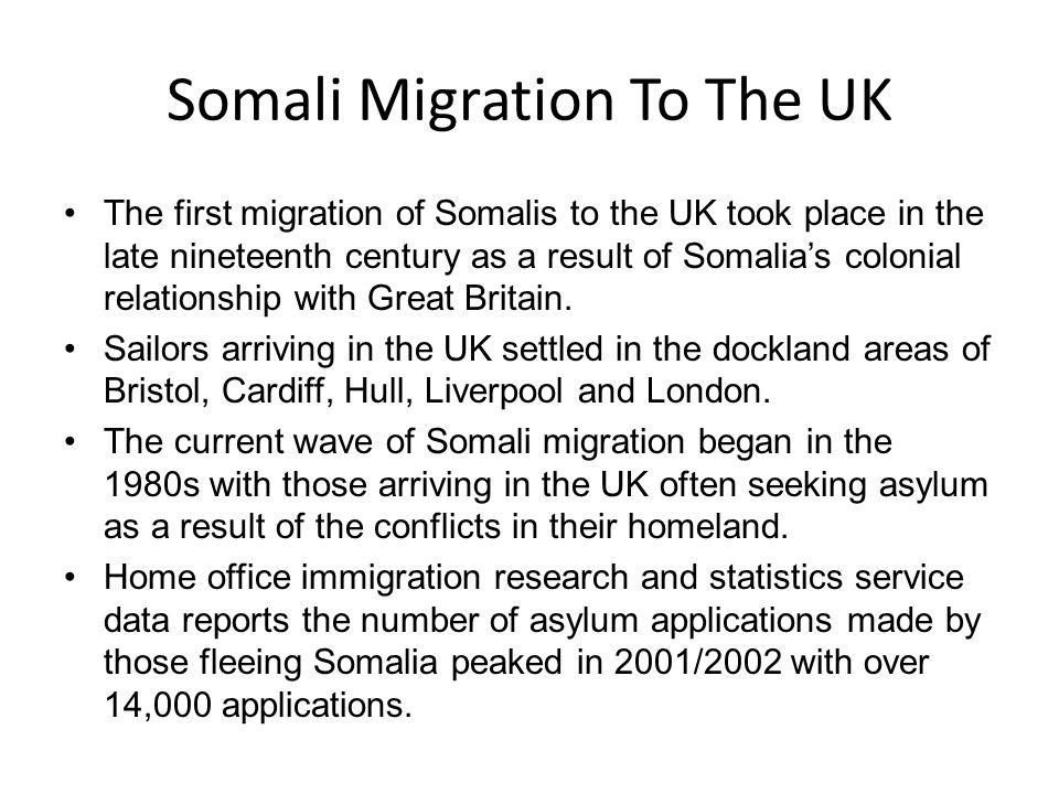Areas of large Somali Communities It is estimated that at least 14% of Somalia's population, one million people, live outside Somalia.