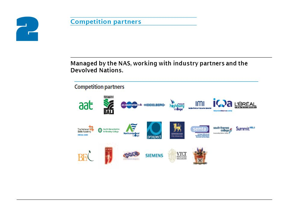 Managed by the NAS, working with industry partners and the Devolved Nations. Competition partners
