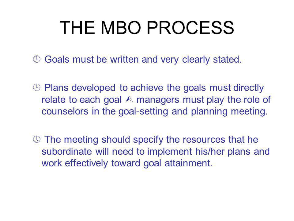 THE MBO PROCESS ¹ Goals must be written and very clearly stated.