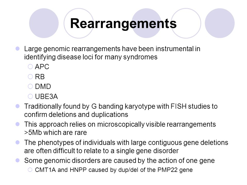 Rearrangements Large genomic rearrangements have been instrumental in identifying disease loci for many syndromes  APC  RB  DMD  UBE3A Traditionally found by G banding karyotype with FISH studies to confirm deletions and duplications This approach relies on microscopically visible rearrangements >5Mb which are rare The phenotypes of individuals with large contiguous gene deletions are often difficult to relate to a single gene disorder Some genomic disorders are caused by the action of one gene  CMT1A and HNPP caused by dup/del of the PMP22 gene