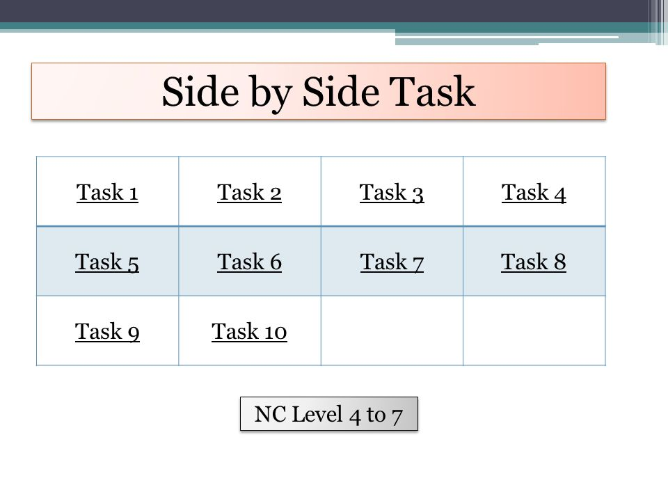 Side by Side Task Task 1Task 2Task 3Task 4 Task 5Task 6Task 7Task 8 Task 9Task 10 NC Level 4 to 7