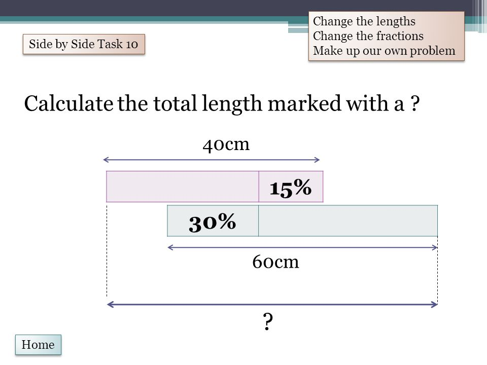 Home Calculate the total length marked with a . 30% 15% 40cm 60cm .