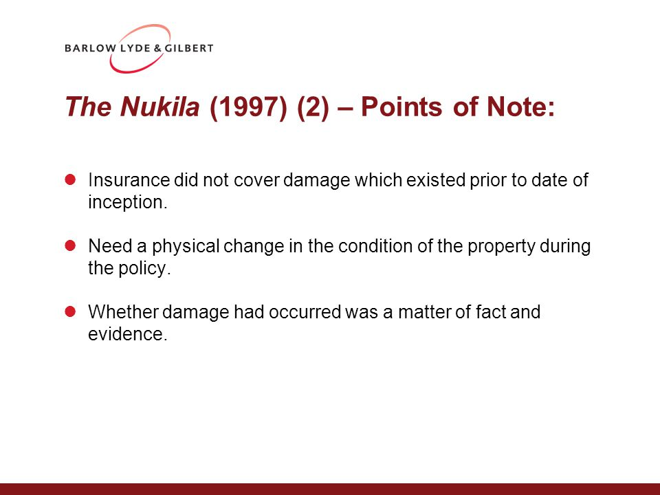 Pilkington v CGU [2004] PL case Whether cracked panels had caused 'damage' to the Eurostar terminal The policy excluded the cost of replacing an item installed by the supplier when the liability arises from a defect in the item, so Pilkington lost.