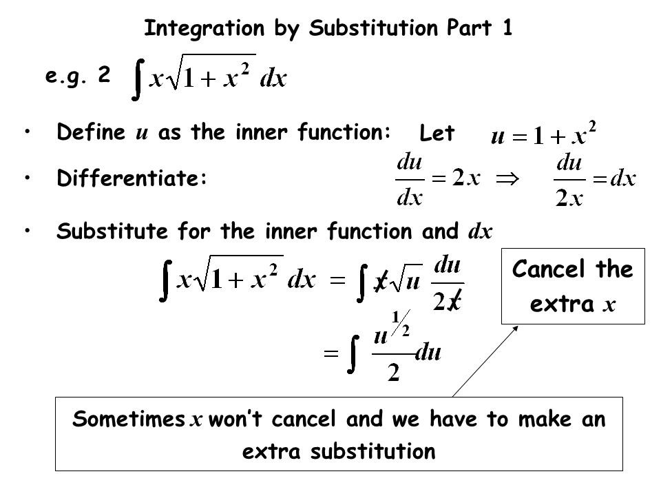 Integration by Substitution Part 1 Let e.g. 2 Differentiate: Substitute for the inner function and dx Define u as the inner function: Cancel the extra