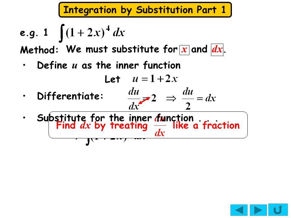 Integration by Substitution Part 1 e.g. 1 Let Method: We must substitute for x and dx. Differentiate: Find dx by treating like a fraction Define u as