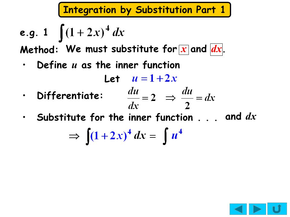 Integration by Substitution Part 1 where So, You will often see this written as