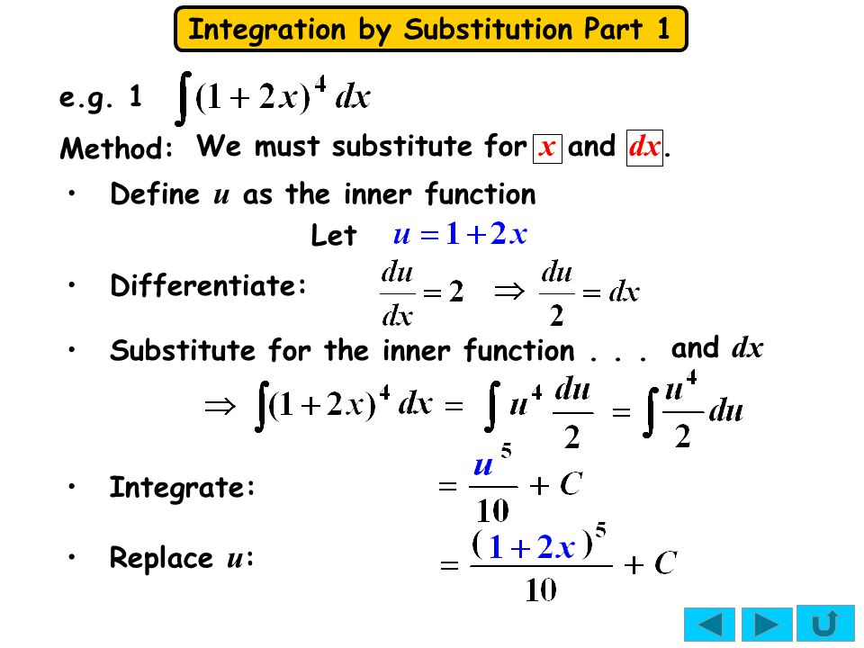 Integration by Substitution Part 1 Tip: Don't be tempted to substitute for the extra x...