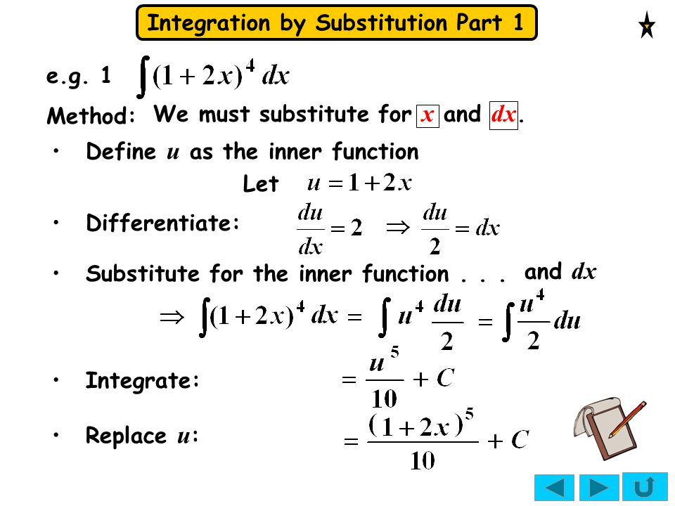 Integration by Substitution Part 1 e.g.