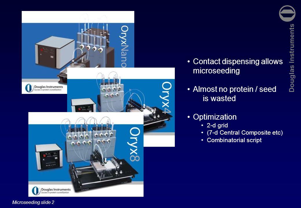 Douglas Instruments Microseeding slide 33 Microseeding in screening experiments Allan D'Arcy, Novartis, Basle.